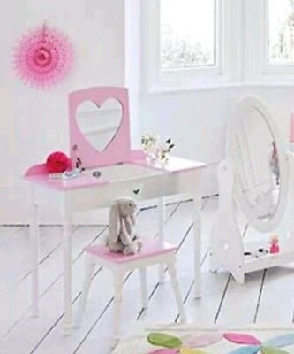 10*F6    Great Little Trading Company Sweetheart Dressing Table & Stool Set