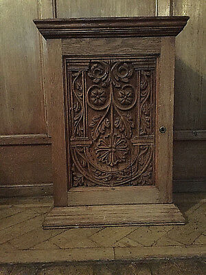 Antique /vintage All Original Victorian Super Heavy Solid Oak Carved Cupboard
