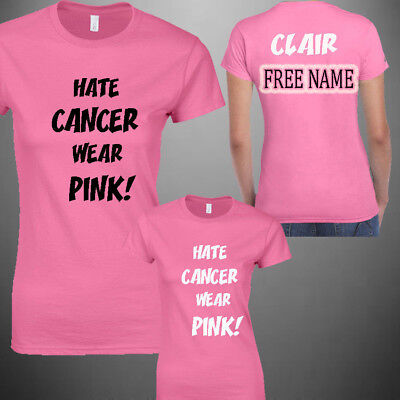 Hate CANCER wear PINK! Cancer For Life Charity Race Ladies,Unisex Kids RUN 2018