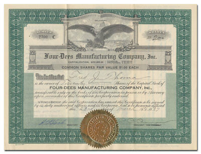 Four-Dees Manufacturing Company, Inc. Stock Certificate (Ford Shock Absorbers)