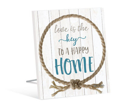 French Country Vintage Inspired Wall Art Wooden ROPE LOVE HAPPY HOME Sign NEW
