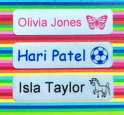 50,75 or 100 Iron On Name Labels/ Name Tags/ Name Tapes - Satin Finish