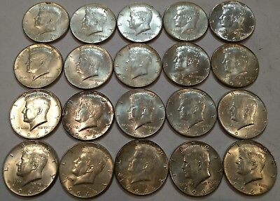 (ROLL of 20) 1964 Kennedy half dollars. All 90% silver. Mix of AU, sliders & UNC