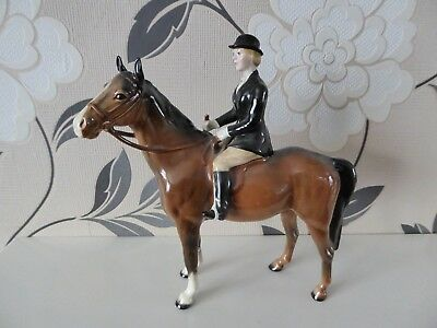 Beswick Huntswoman and Horse Figurine - used condition, head has been repaired