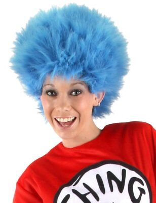 Adult Dr Seuss Blue Afro Wig Thing 1+2 Cat In The Hat Book Week Fancy Dress (MB)
