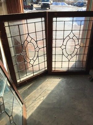 Sg 1714 Match Pair Antique Leaded Glass Windows 25 X 34.5