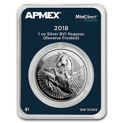 2018 BVI 1 oz Silver Pegasus Rev Frosted (MintDirect® Premier) - SKU#161293