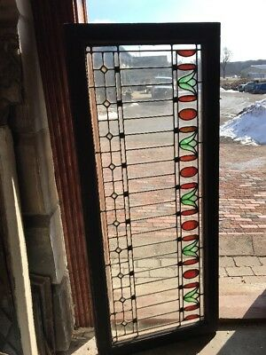 St 1890 antique Stained Glasstulip design transom window 22 x 52
