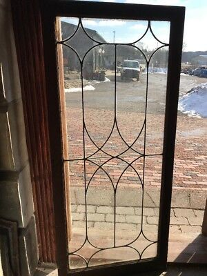 SG 1891 antique leaded glass cabinet door oak frame 24 x 54