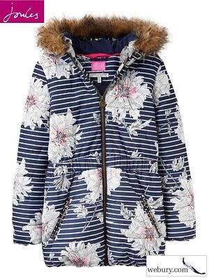 Joules Belmont French Navy Peony Padded Girls Coat in sizes Age 5 - 10