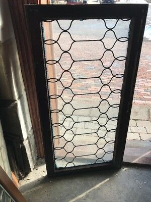 Sg 1896 Antique Swirly Leaded Transom Window 23 X 44.5