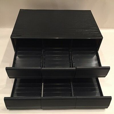 Audio Cassette Tape Double Storage Drawer - Wood - Holds 72 Tapes - Rare Black
