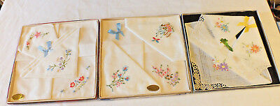 3 x VINTAGE Boxed LADIES Hankies Handkerchiefs cotton and lace N Ireland Irish