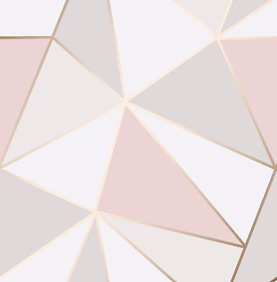 Feature Wall Rose Gold Blush Pink Grey Geometric 'FrogTape' Wallpaper FD41993