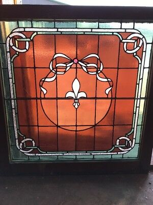 Sg 1900 Antique Stained Glass Window 30.5 X 31 Hi