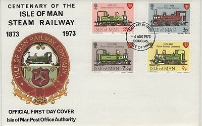 Isle Of Man Centenary Of The Steam Railway 1973   First Day Cover Free P&p