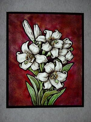 Beautiful Stained glass panel. LILY.Hand painted.Kiln fired.210 x 170 mm. New.