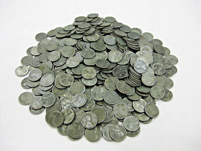 Lot of 500 1943 Lincoln Head Zinc Steel Wheat Cents / Pennies WWII Coins