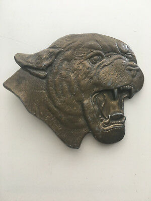 Vintage Cougar Mountain Lion Head Brass Belt Buckle 1970's