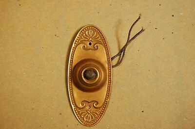 Antique Stamped Brass Classical Style Oval Doorbell Door Bell Button