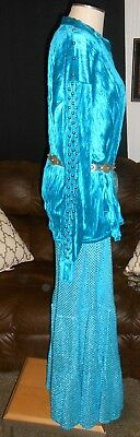 Xl Navajo Indian Native Regalia Shirt Broom Tier Skirt Turquoise Silver Buttons