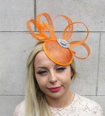 Orange Silver Sinamay Feather Pillbox Hat Fascinator Races Ascot Headpiece 5245