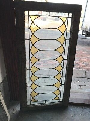 Sg 1908 Antique Leaded Stained Transom Window 20.5 X 40.25
