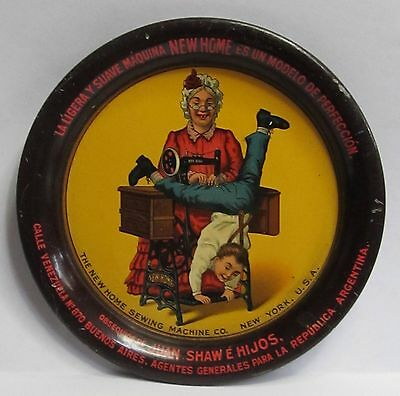 early NEW HOME SEWING MACHINE N.Y. tin litho tip tray ashtray Spanish ARGENTINA