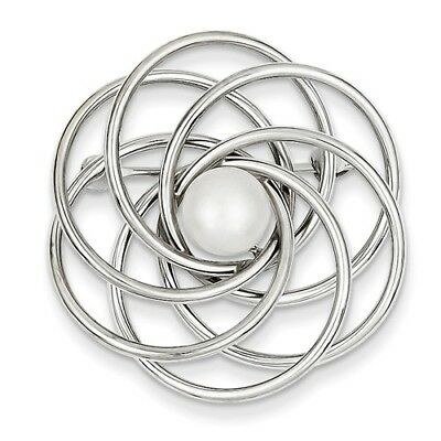 14K White Gold Cultured Pearl Swirl Pin. Metal Wt-3.09g