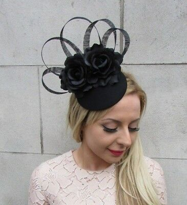 Black Rose Flower Feather Pillbox Hat Hair Fascinator Races Funeral Ascot 5248