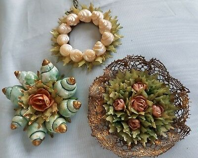Antique VTG Victorian Sea Shell Christmas Ornament Wreath Gold Lace Folk Art Lot