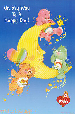 Lot Of 2 Posters:children's: Care Bears - On My Way To A Happy Day #3340  Rp64 V