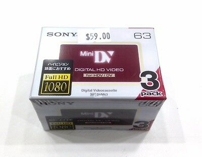 Sony-DVM63HD-HD-Mini-DV-Tape-63-Minutes-HDV-DV-Cassette X 3 Tapes