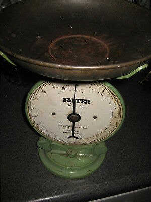 1900S VINTAGE SCALE SALTER made in England  cast iron heavy over 12 inches tall