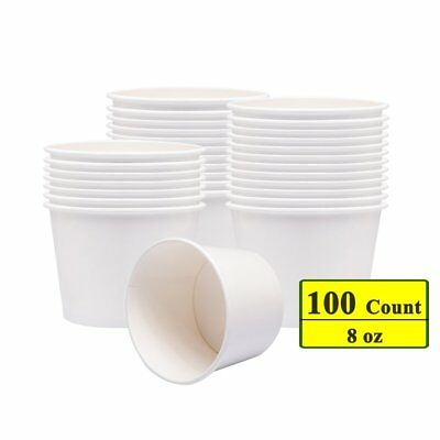 Benail Paper Soup Cups, Paper Hot/Cold Ice Cream Cups - 100 Count White 8 oz