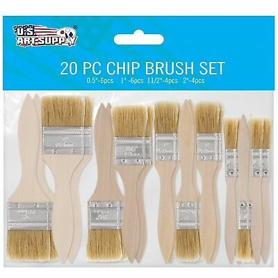 20 Pack By US Art Supply Assorted Size Paint and Chip Paint Brushes for Paint