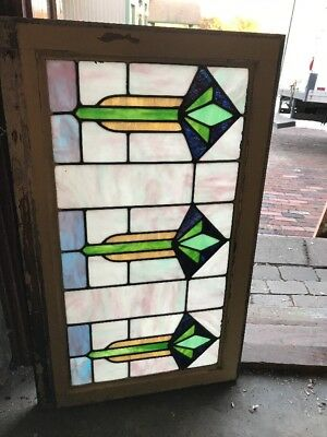 SG 1922 antique tulip flower deco pastel transom window 21 x 33.75