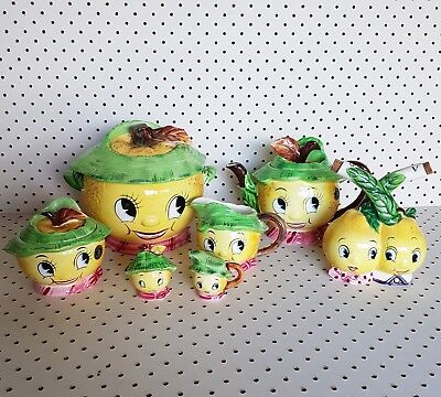 Vintage kitsch ceramic japan py lemon cookie jar teapot salt and pepper face