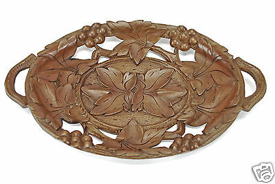 Vintage Leaf Carved/ Reticulated Fruit Dish or Tray  Black Forest, Switzerland.