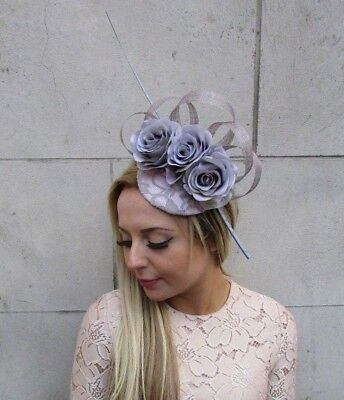 Grey Light Pink Quill Feather Rose Flower Pillbox Hat Fascinator Races Hair 5250