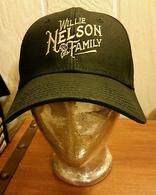 "Willie Nelson~ And Family Embroidered Black Baseball Cap   ""Rare"""