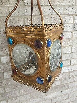 Vintage Victorian Brass Jeweled Hanging Lamp Gas Light Foyer