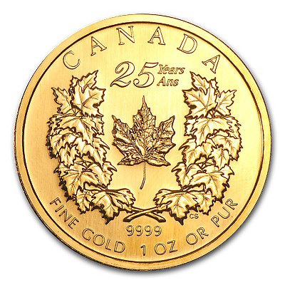 2004 Canada 1 oz Gold Maple Leaf BU (25th Anniversary) - SKU #3908