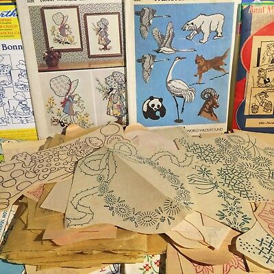 HUGE Lot of VTG Embroidery pattern Iron-On Transfers Many Themes