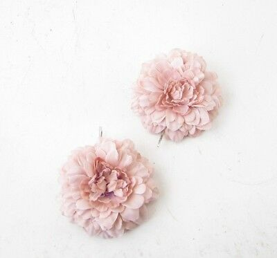 2 x Pink Nude Flower Hair Grips Slides Pins Boho Peony Fascinator Festival 5256