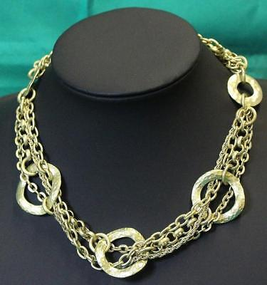 Vintage VCLM Necklace Beaten Loops Multi Strand Chains Matt Gold Tone Exc 28