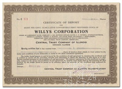 Willys Corporation Stock Certificate (Famous Auto Maker)