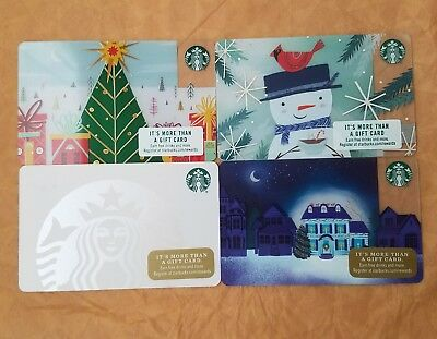 4 Rare Starbucks Printers Mark Gift cards All Brand new Unswiped pin intact