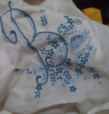 Vintage White Hankie Madeira Style Hand Embroidered Blue Monogram B Wedding