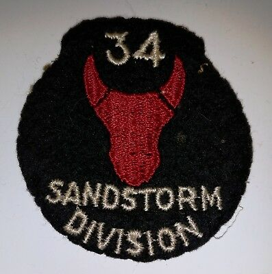 unusual WWII 34th Infantry Division Sandstorm Division US Army patch felt / wool